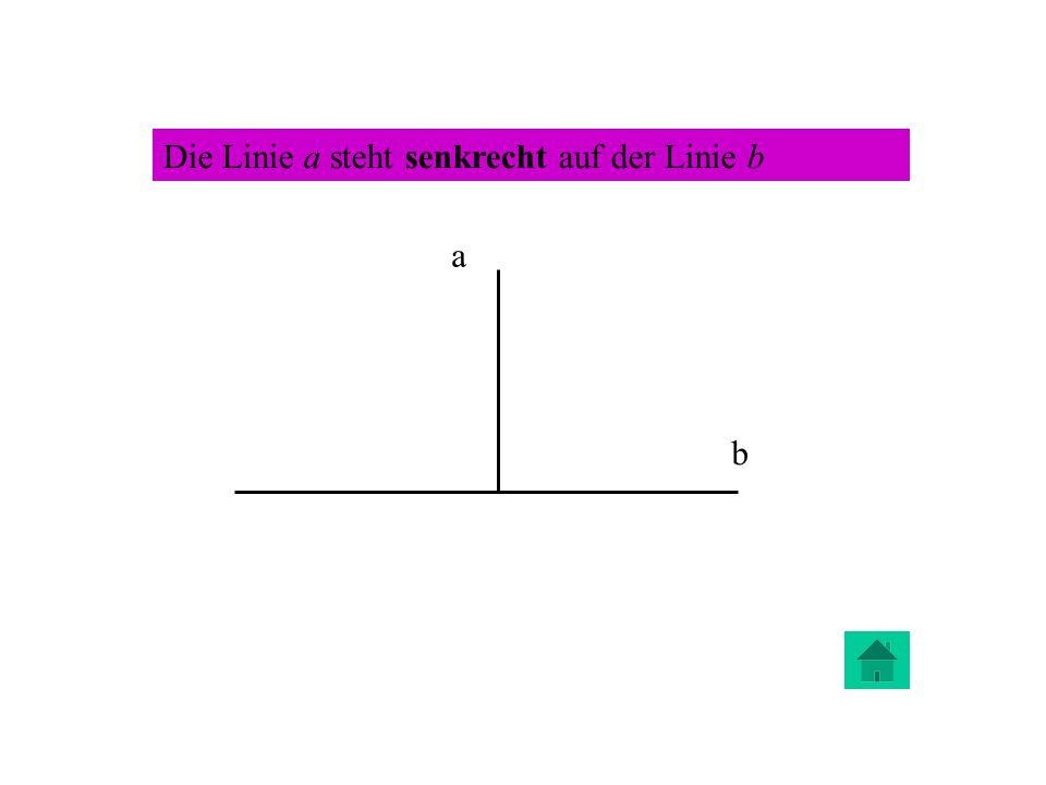 Die Linie a steht senkrecht auf der Linie b