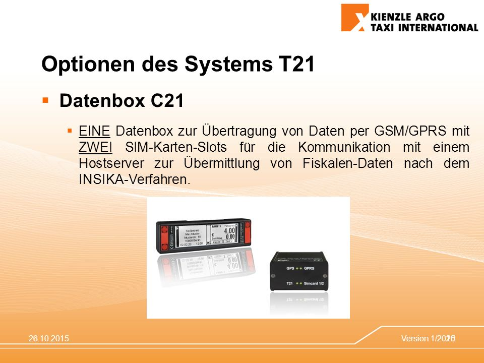 Optionen des Systems T21 Datenbox C21