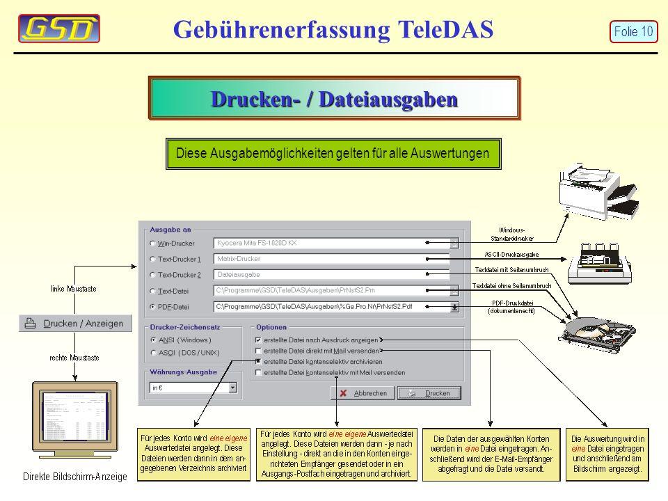 Drucken- / Dateiausgaben