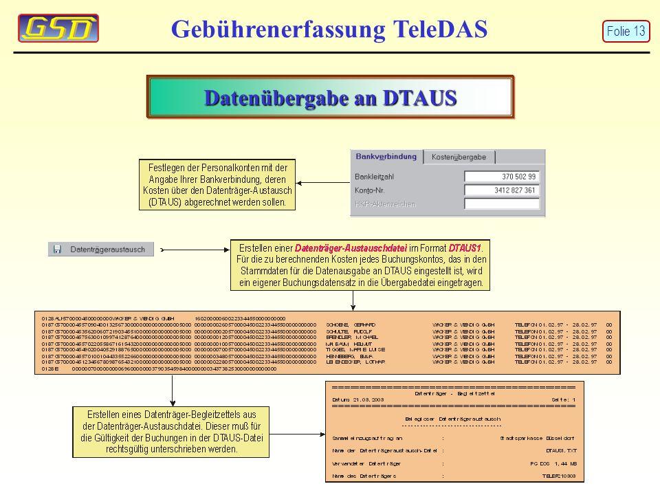 Datenübergabe an DTAUS