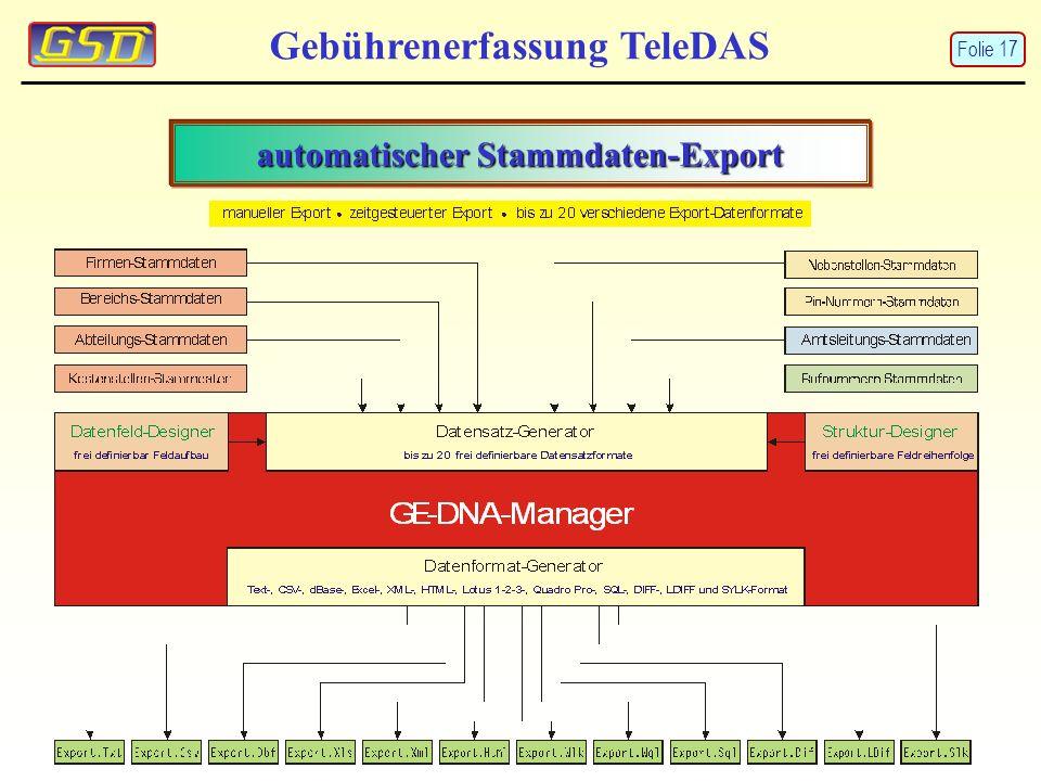 automatischer Stammdaten-Export