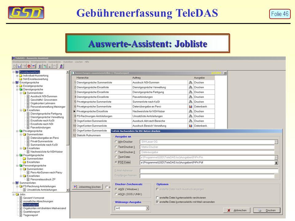 Auswerte-Assistent: Jobliste