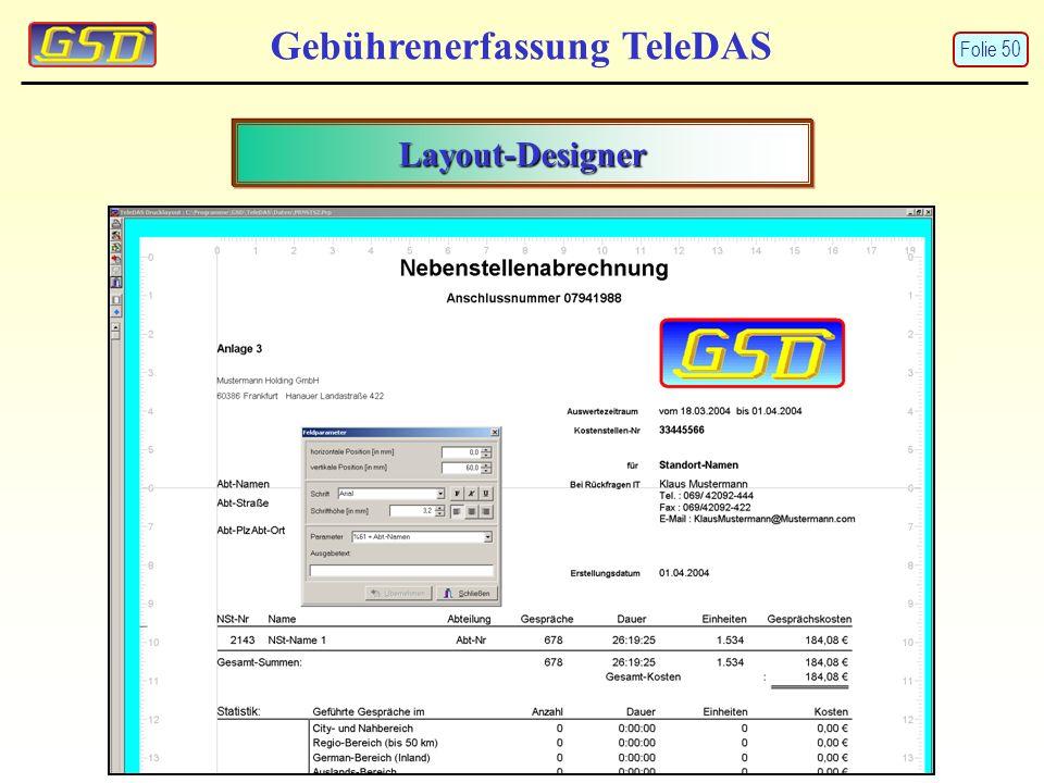Gebührenerfassung TeleDAS