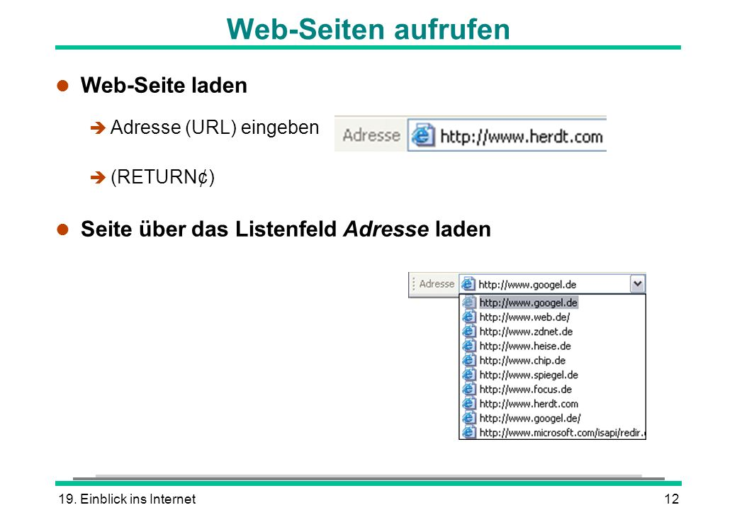 Web-Seiten aufrufen Web-Seite laden