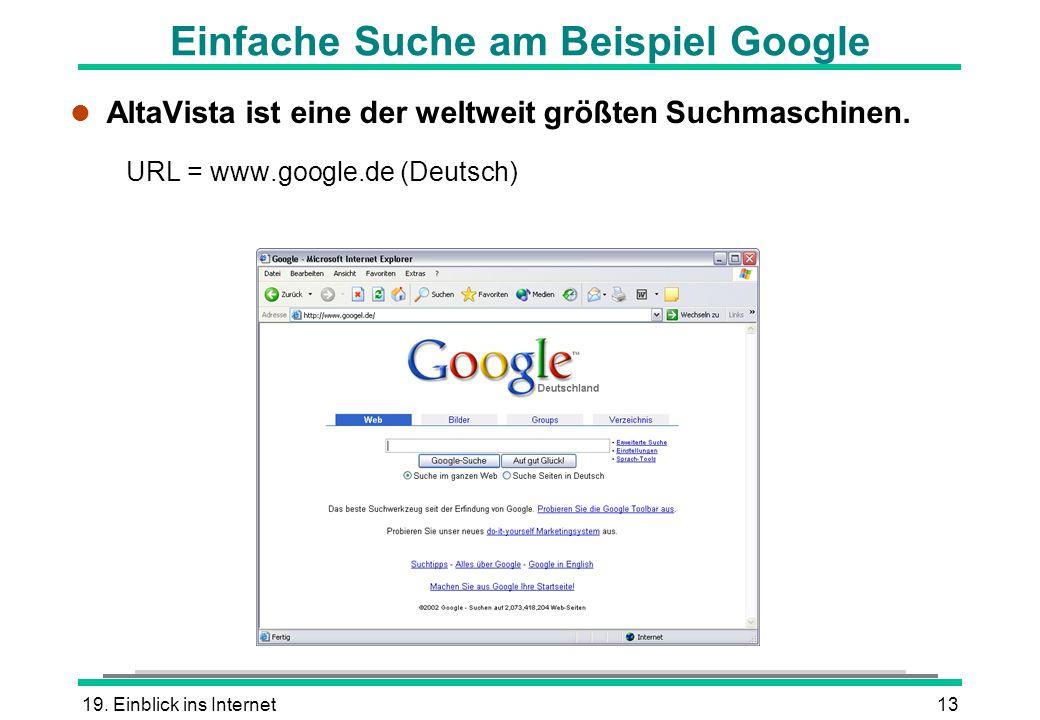 Einfache Suche am Beispiel Google