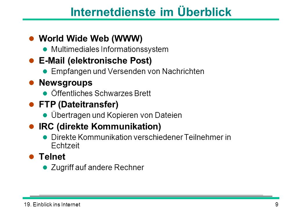 Internetdienste im Überblick