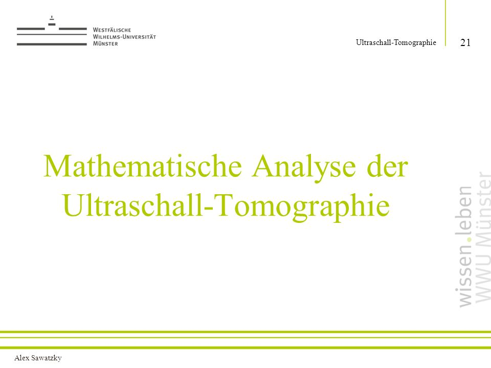 Mathematische Analyse der Ultraschall-Tomographie