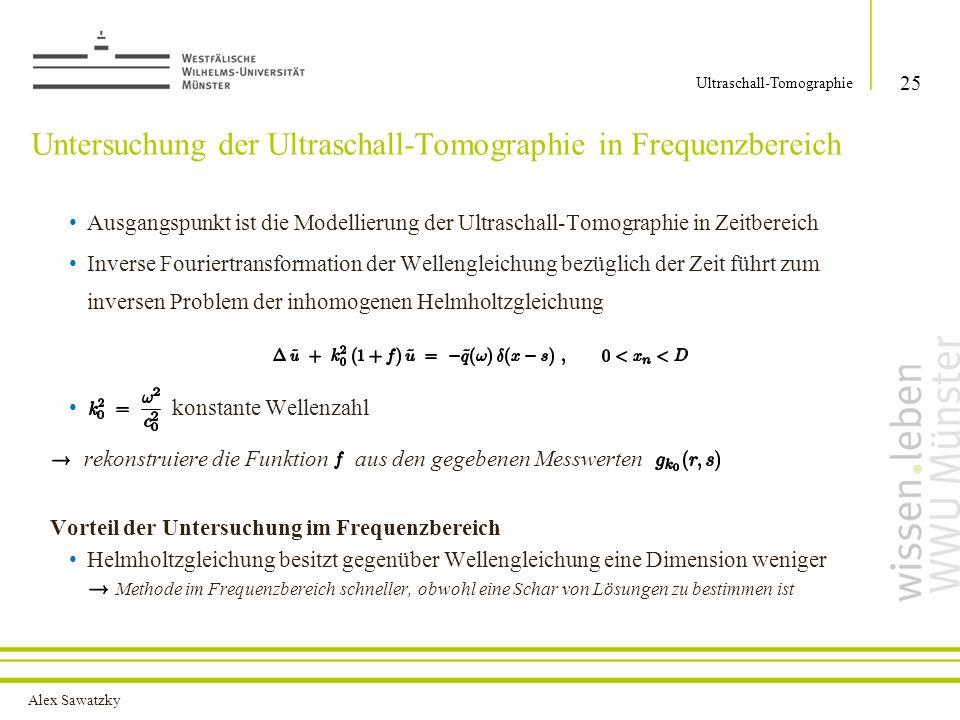 Untersuchung der Ultraschall-Tomographie in Frequenzbereich