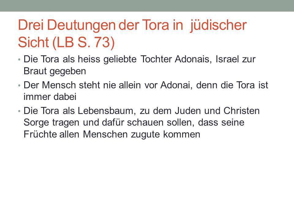 Drei Deutungen der Tora in jüdischer Sicht (LB S. 73)