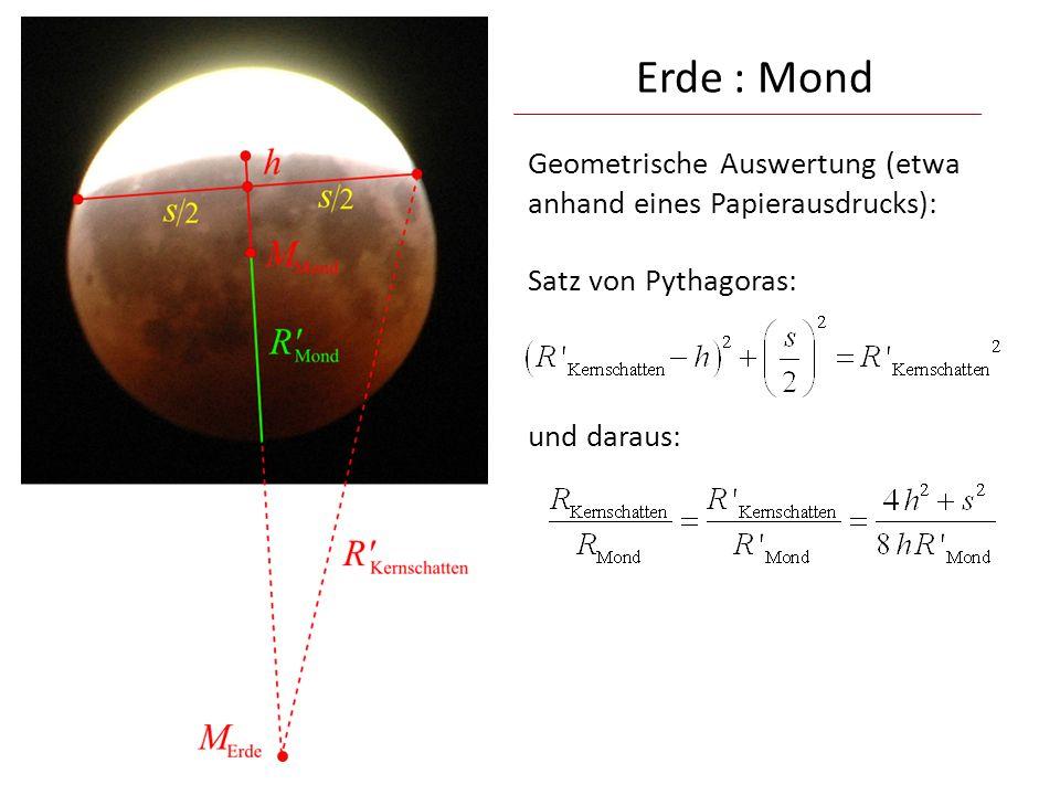 Erde : Mond Geometrische Auswertung (etwa anhand eines Papierausdrucks): Satz von Pythagoras: und daraus: