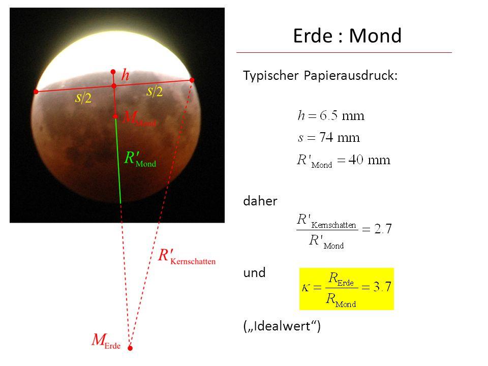 """Erde : Mond Typischer Papierausdruck: daher und (""""Idealwert )"""