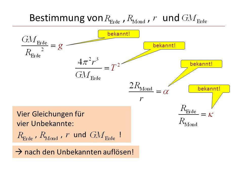 Bestimmung von , , und Vier Gleichungen für vier Unbekannte: , , und !