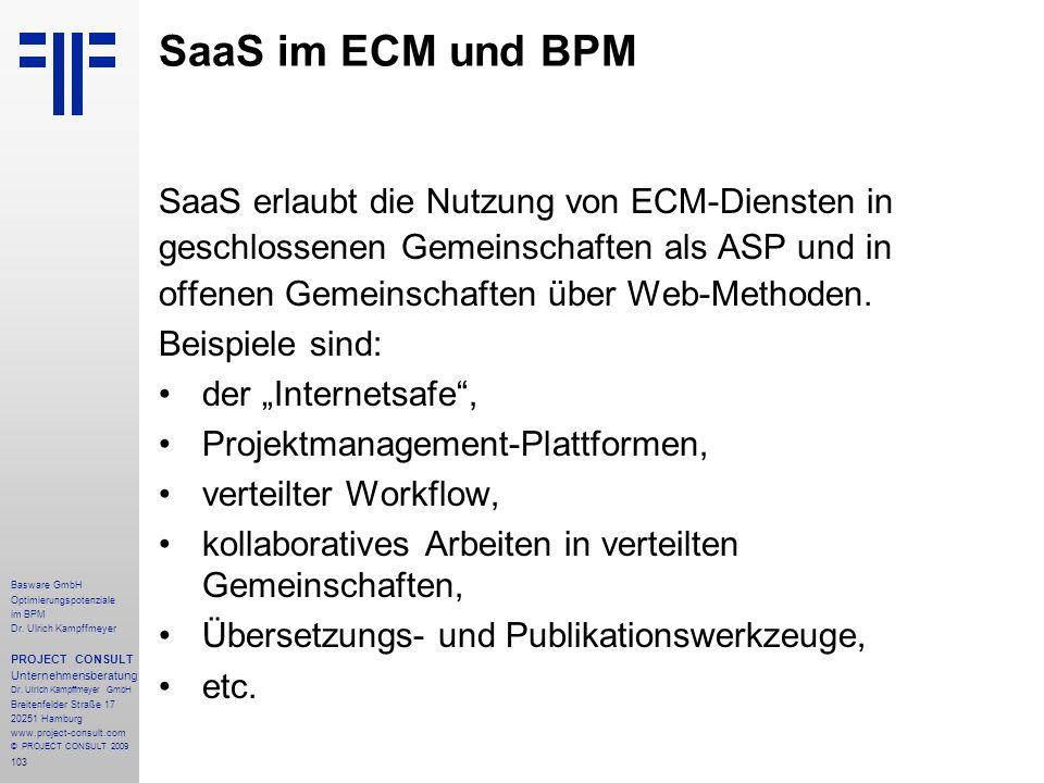 SaaS im ECM und BPM SaaS erlaubt die Nutzung von ECM-Diensten in