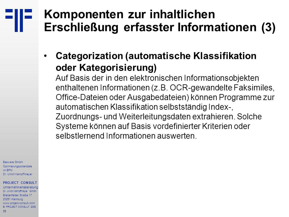Komponenten zur inhaltlichen Erschließung erfasster Informationen (3)
