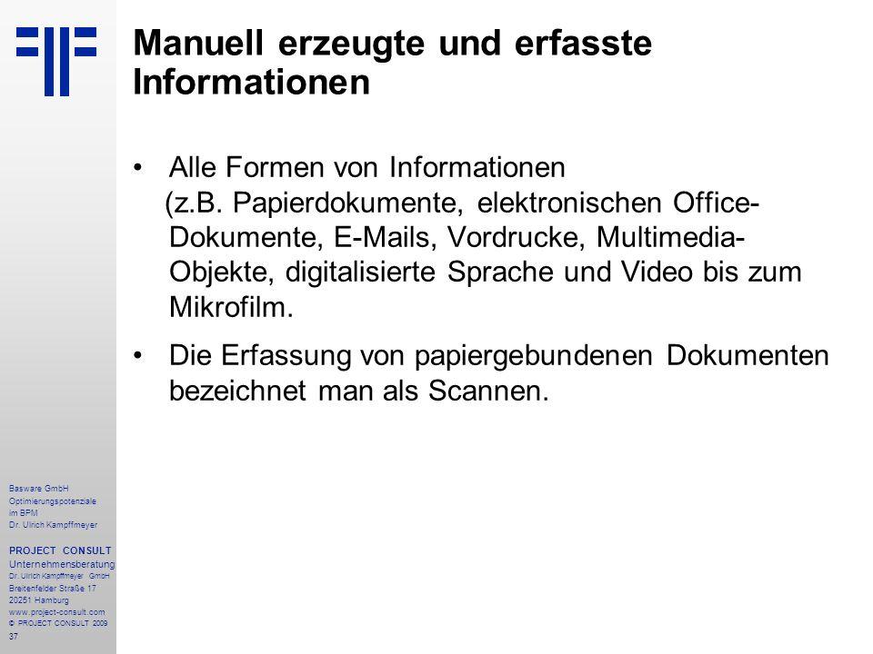 Manuell erzeugte und erfasste Informationen