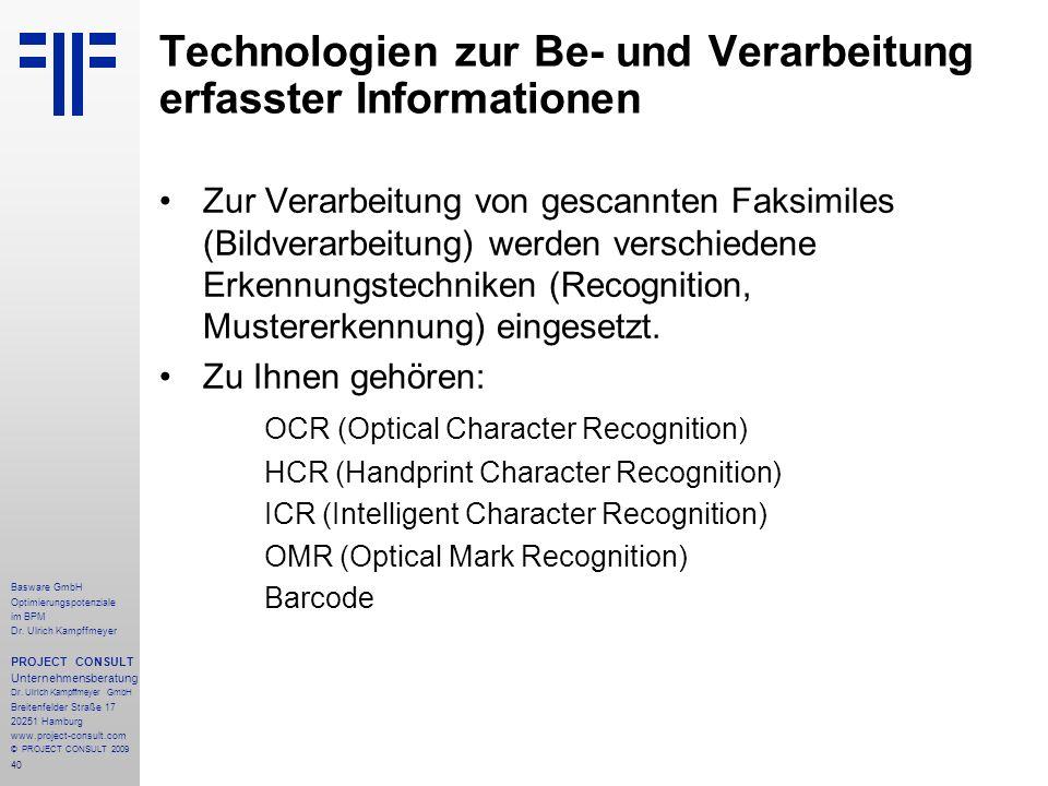 Technologien zur Be- und Verarbeitung erfasster Informationen