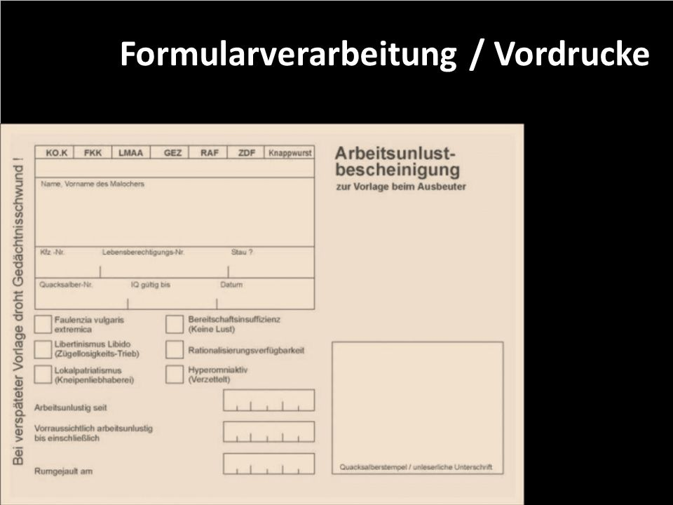 Formularverarbeitung / Vordrucke
