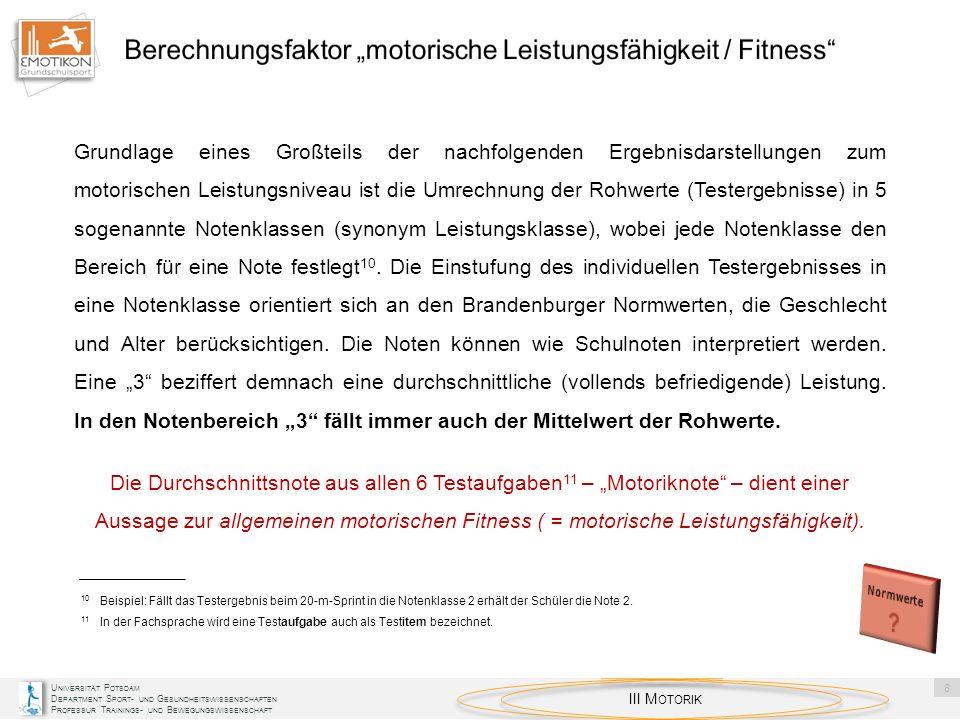 """Berechnungsfaktor """"motorische Leistungsfähigkeit / Fitness"""