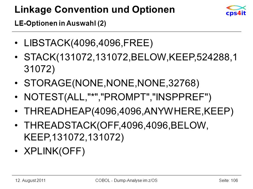 Linkage Convention und Optionen