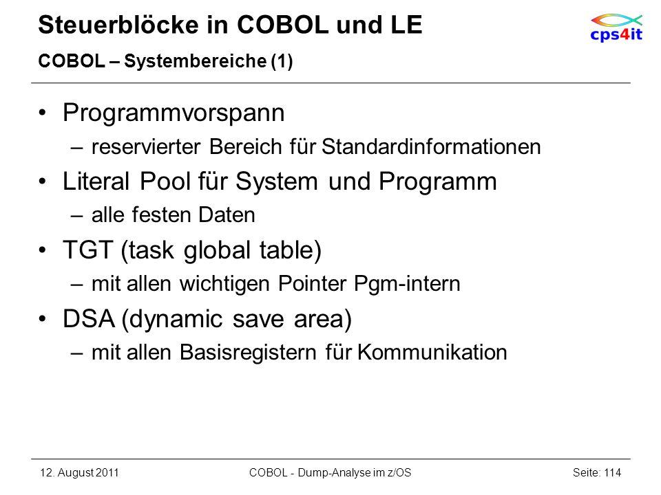 Steuerblöcke in COBOL und LE