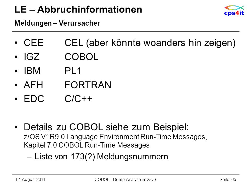 LE – Abbruchinformationen