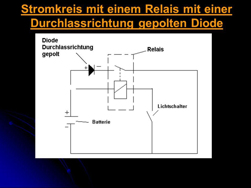 Stromkreis mit einem Relais mit einer Durchlassrichtung gepolten Diode