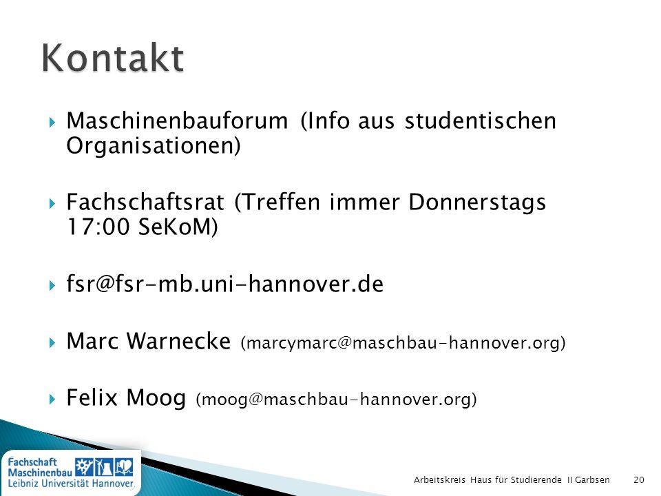 Kontakt Maschinenbauforum (Info aus studentischen Organisationen)