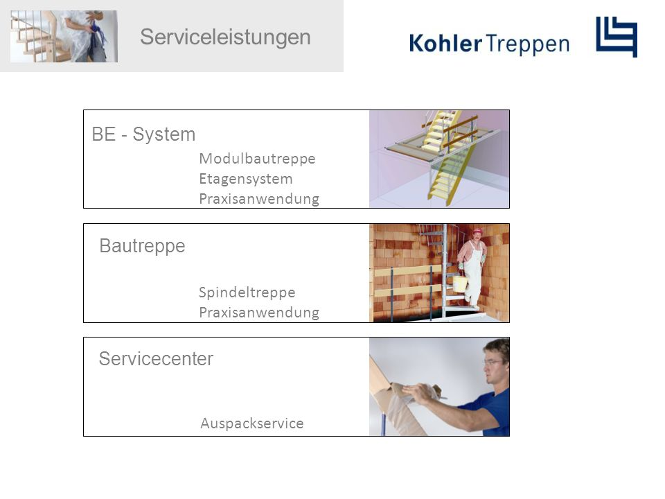Serviceleistungen BE - System Bautreppe Servicecenter Modulbautreppe