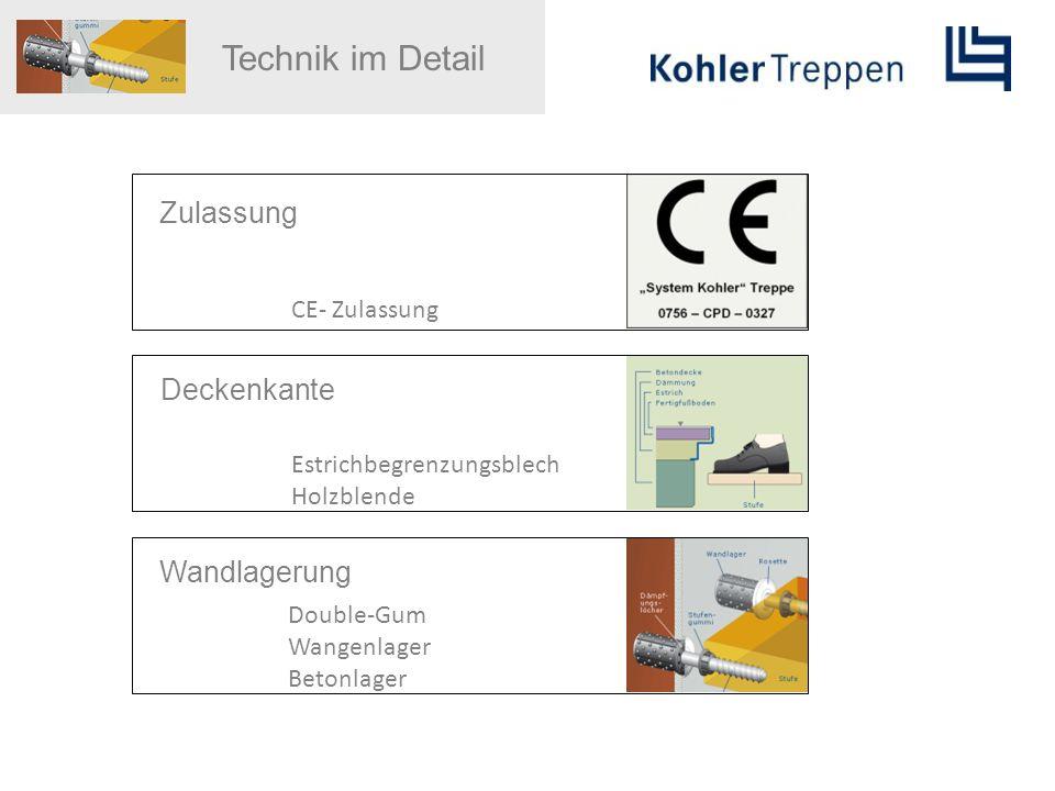 Technik im Detail Zulassung Deckenkante Wandlagerung CE- Zulassung