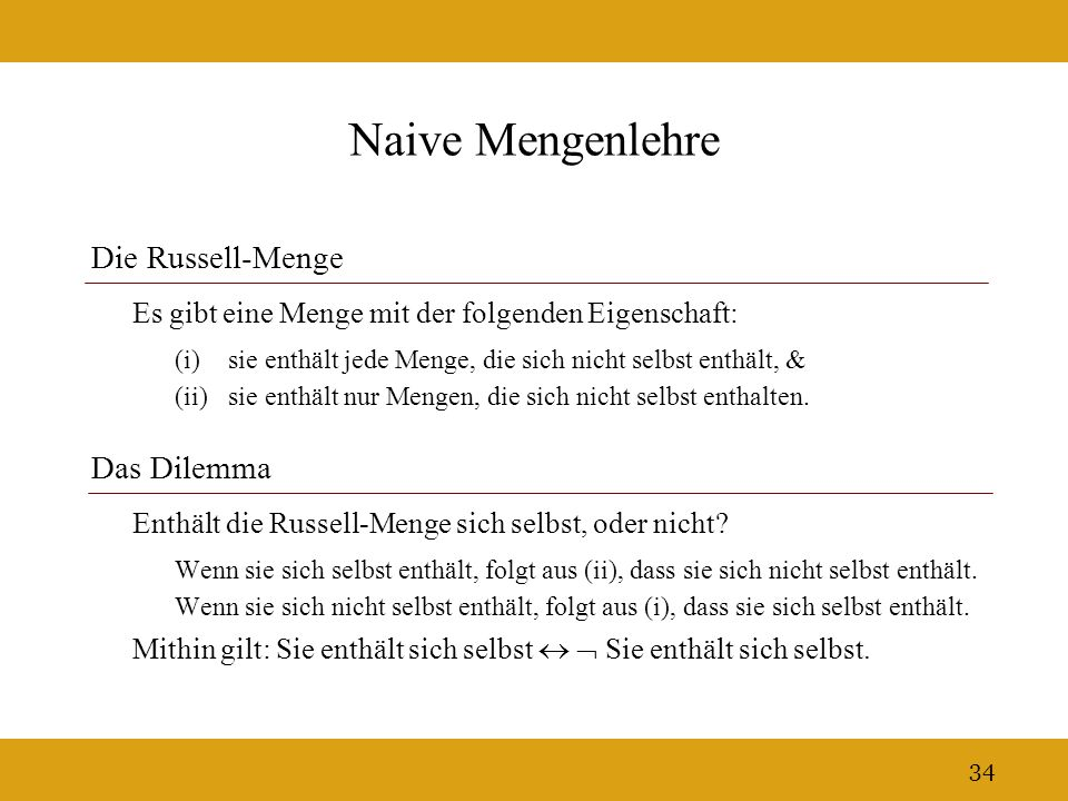 Naive Mengenlehre Die Russell-Menge Das Dilemma
