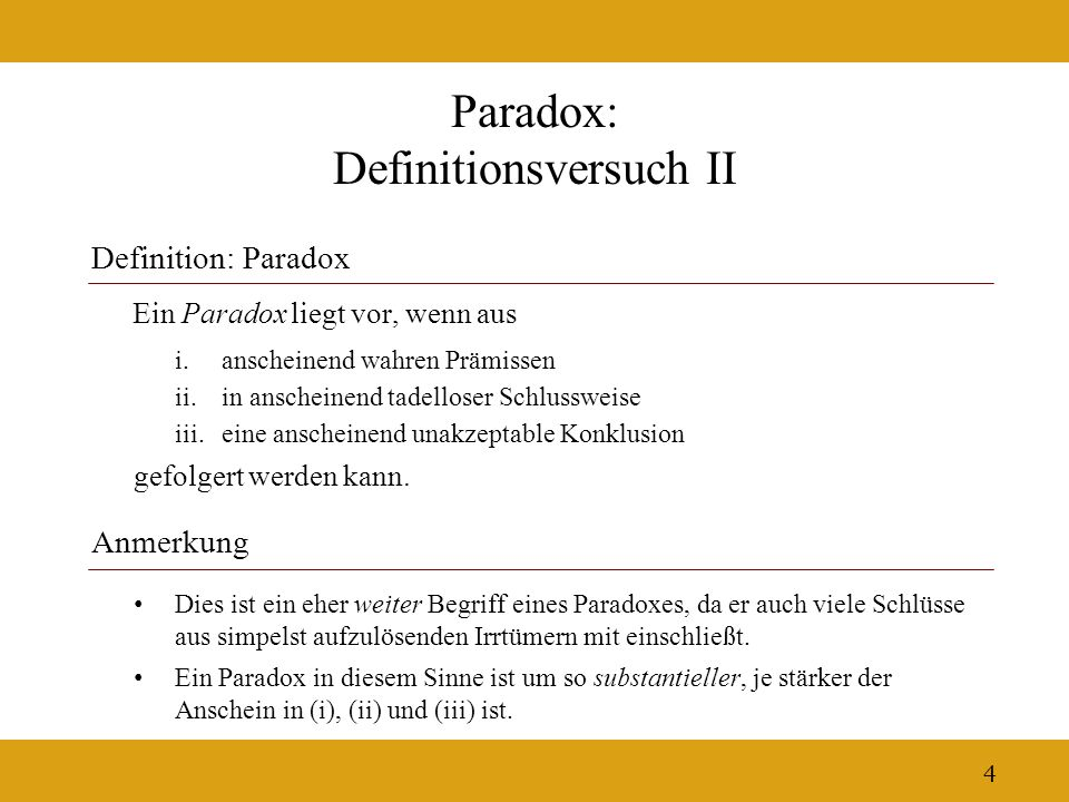 Paradox: Definitionsversuch II