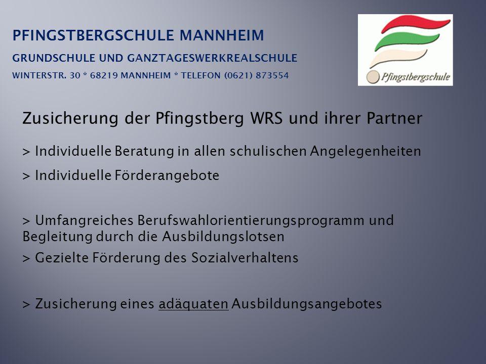 Zusicherung der Pfingstberg WRS und ihrer Partner