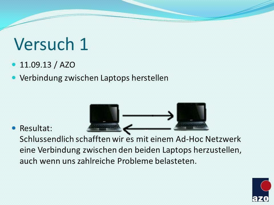 Versuch 1 11.09.13 / AZO Verbindung zwischen Laptops herstellen
