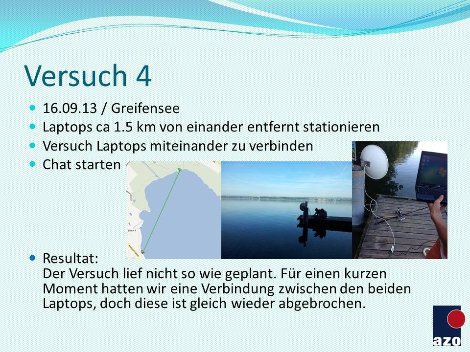 Versuch 4 16.09.13 / Greifensee. Laptops ca 1.5 km von einander entfernt stationieren. Versuch Laptops miteinander zu verbinden.