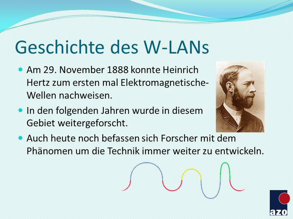 Geschichte des W-LANs Am 29. November 1888 konnte Heinrich Hertz zum ersten mal Elektromagnetische- Wellen nachweisen.