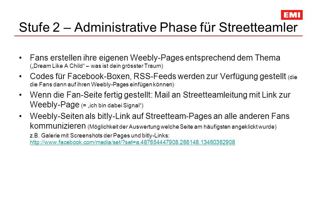 Stufe 2 – Administrative Phase für Streetteamler