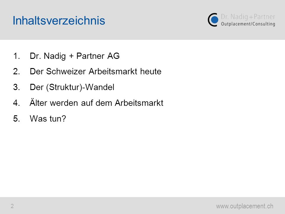 Inhaltsverzeichnis 1. Dr. Nadig + Partner AG