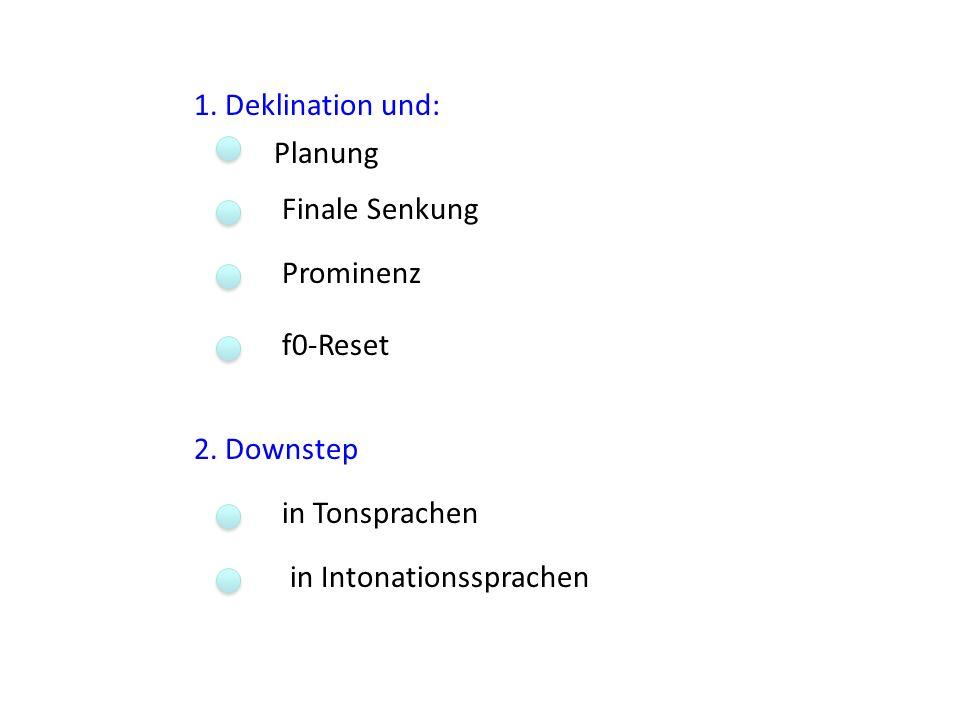 1.Deklination und:Planung. Finale Senkung. Prominenz.