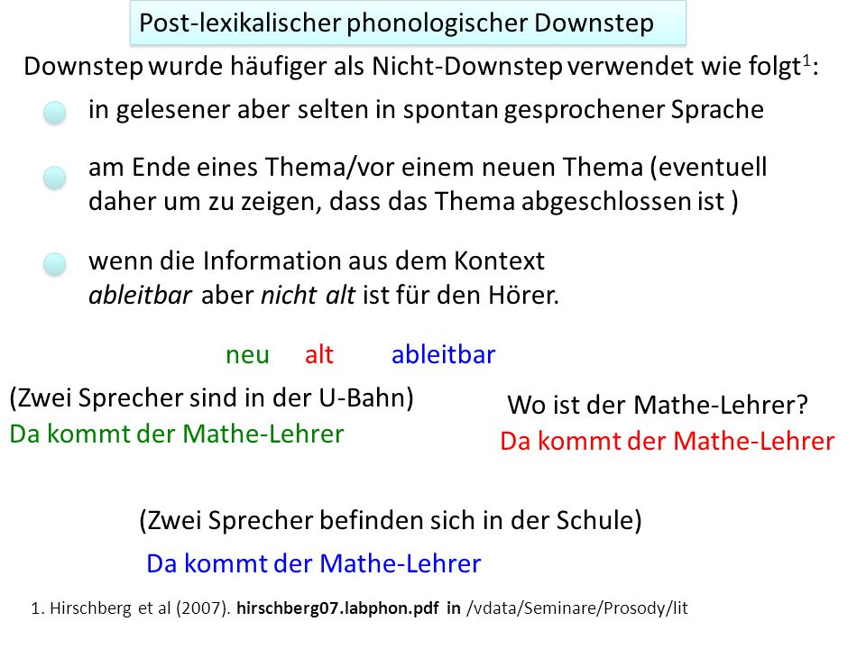 Post-lexikalischer phonologischer Downstep