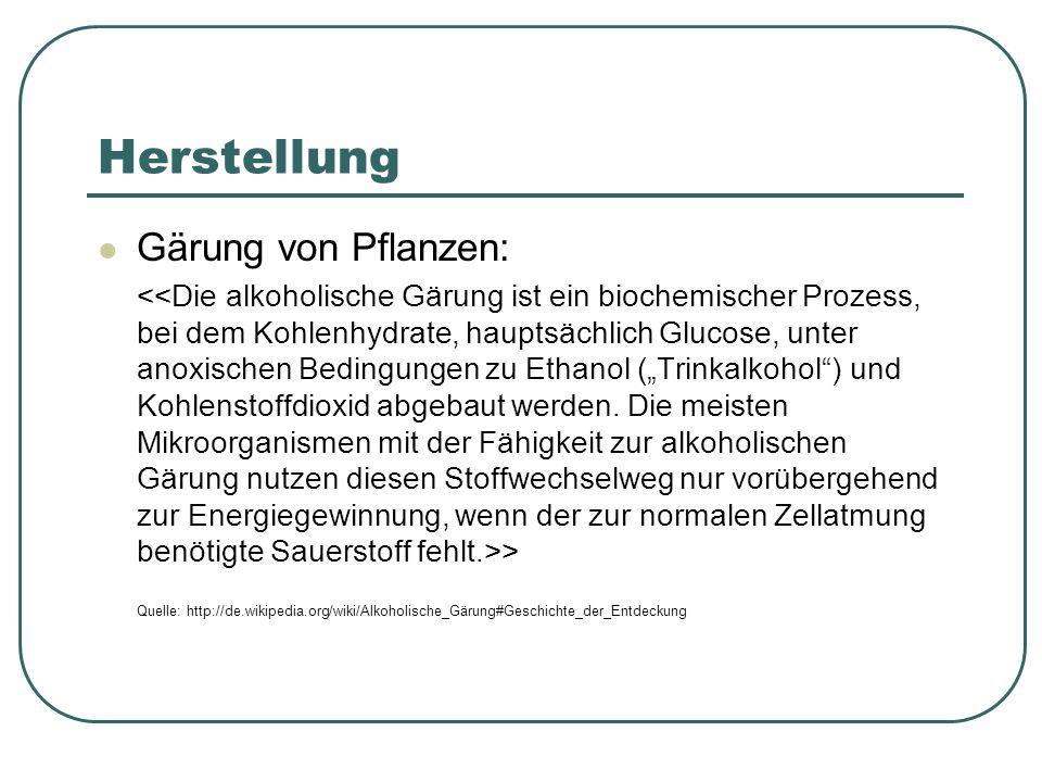 Herstellung Gärung von Pflanzen: