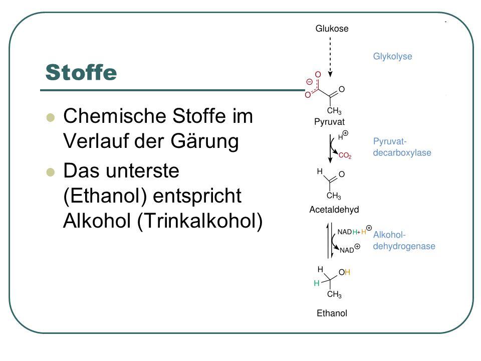 Stoffe Chemische Stoffe im Verlauf der Gärung