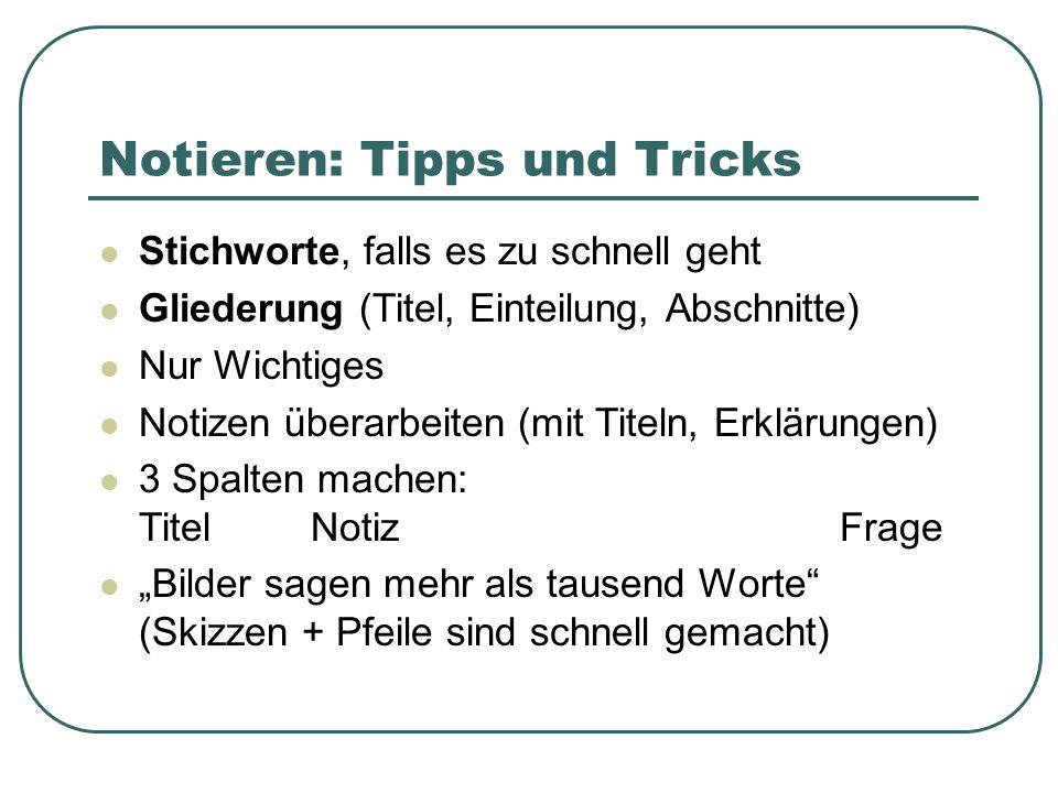 Notieren: Tipps und Tricks