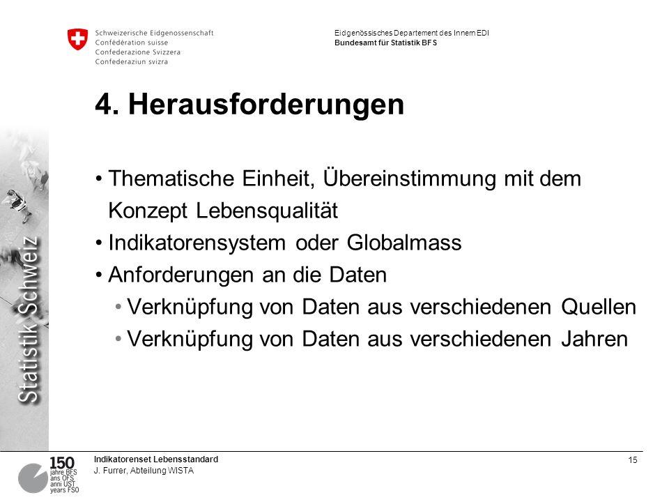 4. Herausforderungen Thematische Einheit, Übereinstimmung mit dem Konzept Lebensqualität. Indikatorensystem oder Globalmass.