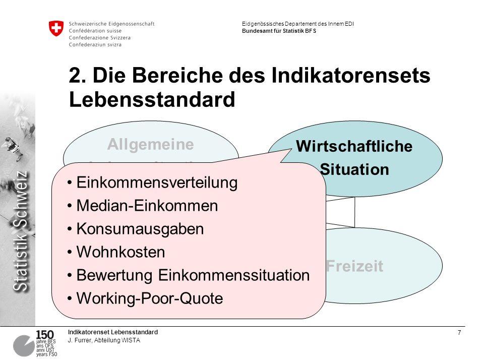 2. Die Bereiche des Indikatorensets Lebensstandard