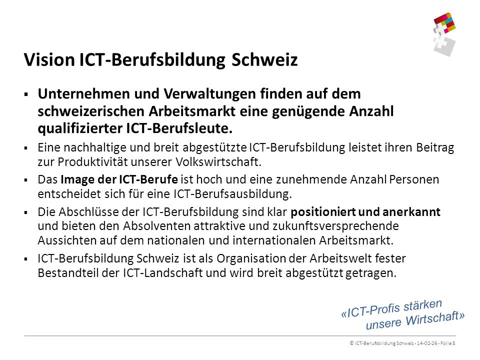 Vision ICT-Berufsbildung Schweiz