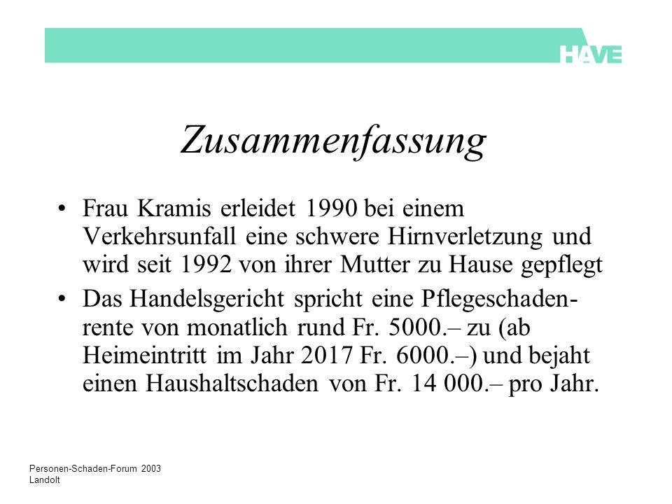 Zusammenfassung Frau Kramis erleidet 1990 bei einem Verkehrsunfall eine schwere Hirnverletzung und wird seit 1992 von ihrer Mutter zu Hause gepflegt.