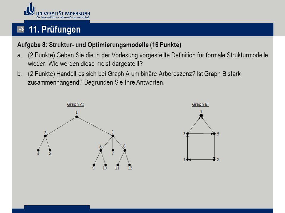 11. Prüfungen Aufgabe 8: Struktur- und Optimierungsmodelle (16 Punkte)