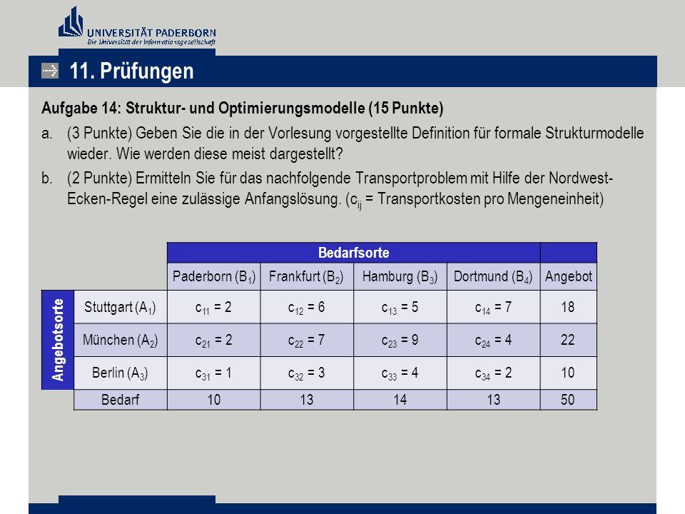 11. Prüfungen Aufgabe 14: Struktur- und Optimierungsmodelle (15 Punkte)