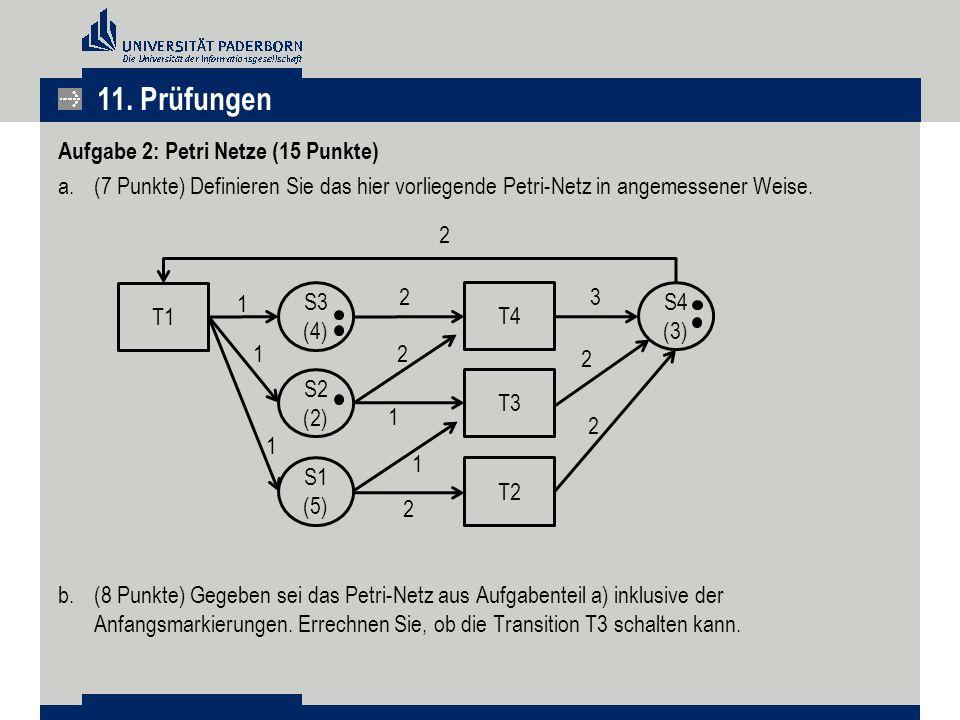 11. Prüfungen Aufgabe 2: Petri Netze (15 Punkte)