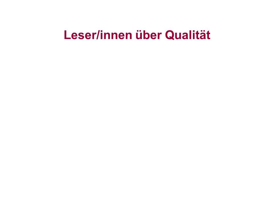 Leser/innen über Qualität